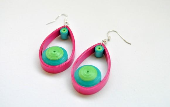 Quilled Paper Earrings | Domed Drops