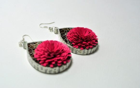 Σκουλαρίκια Χαρτοπλεκτικής | Φουντωτό Λουλούδι