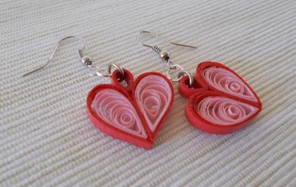 Quilled Paper Earrings   Hearts