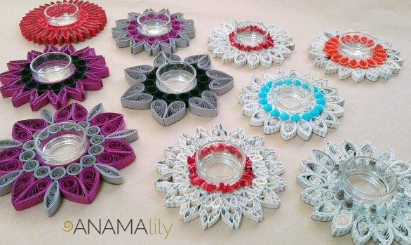 Quilled Tealight Candle Holders