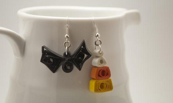 Quilled Paper Earrings | Mismatched Trick Or Treat